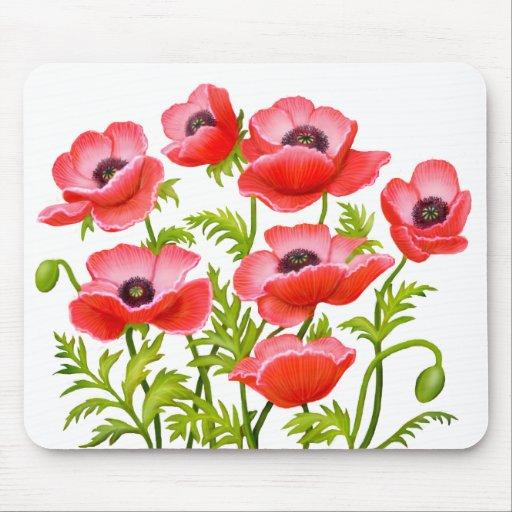 Red Garden Poppy Flowers Mousepad