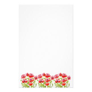 Red Garden Poppy Flowers Stationery