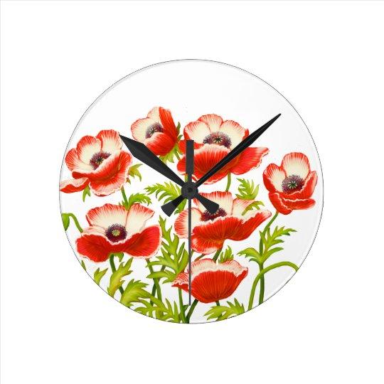 Red Garden Poppy Flowers Wall Clock