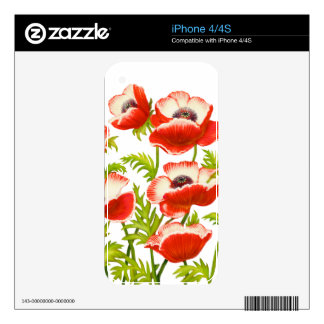 Red Garden Poppy Flowers Zazzle Skin Decals For The iPhone 4