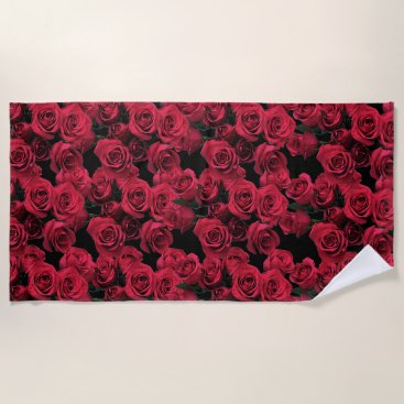 Beach Themed Red Garden Roses Floral Beach Towel
