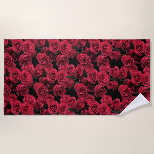 Red Garden Roses Floral Beach Towel