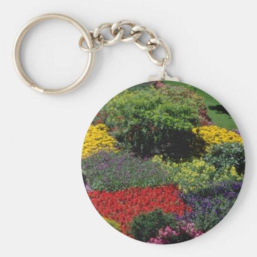 Red Garden setting flowers Key Chain