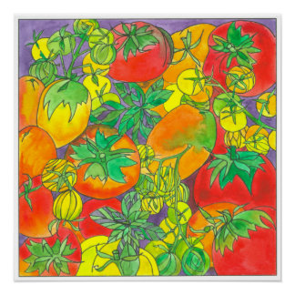 Red Garden Tomatoes Watercolor Painting Poster