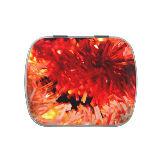 red garland abstract candy tins