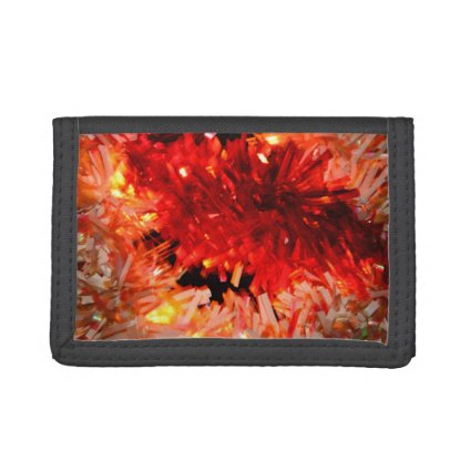 red garland abstract trifold wallets