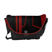 Red-Garnet and Black Courier Bag