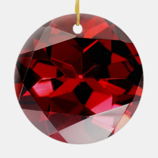 Red Garnet Gemstone January Birthstone Ceramic Ornament