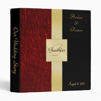 Red Garnet Gold Monogram Ribbon Binder