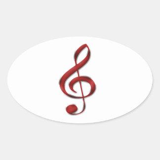 Red Gclef Music Symbol Oval Sticker