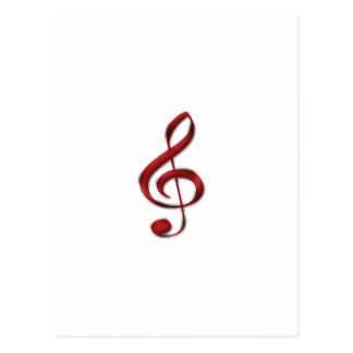 Red Gclef Music Symbol Postcard