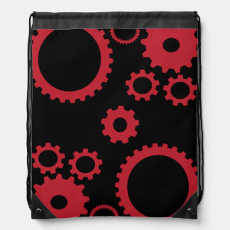 Red Gears Drawstring Bag