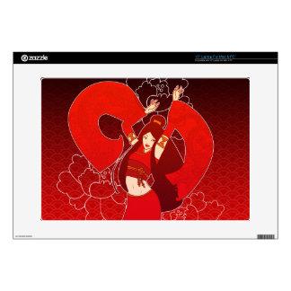 "Red Geisha Dancer 15"" Mac or PC Laptop Skin"