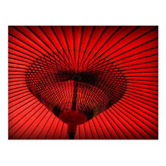 Red Geisha Parasol Postcard