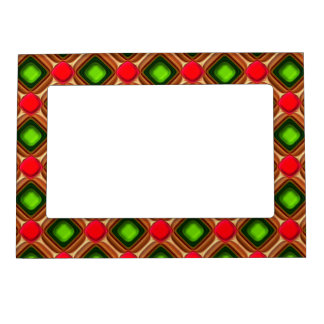 Red Gem Pattern Magnetic Photo Frame