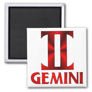 Red Gemini Horoscope Symbol 2 Inch Square Magnet