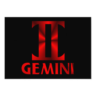 Red Gemini Horoscope Symbol Card