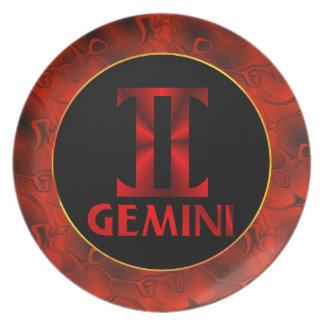 Red Gemini Horoscope Symbol Dinner Plate