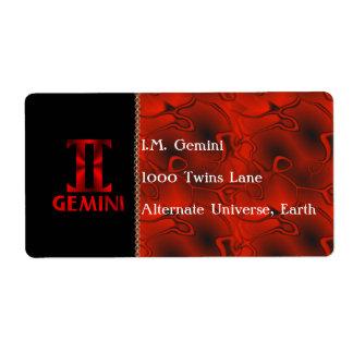 Red Gemini Horoscope Symbol Label