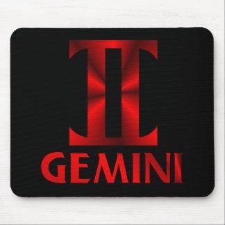 Red Gemini Horoscope Symbol Mouse Pad