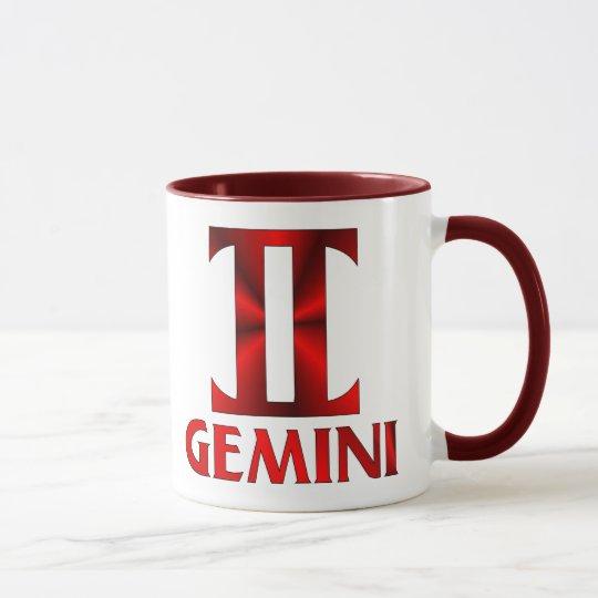 Red Gemini Horoscope Symbol Mug
