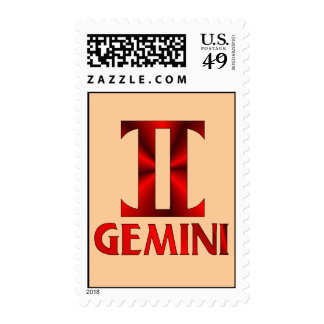 Red Gemini Horoscope Symbol Postage Stamp