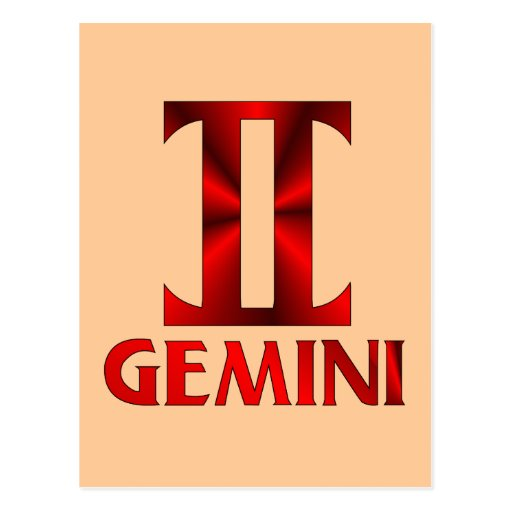 Red Gemini Horoscope Symbol Postcard