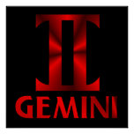 Red Gemini Horoscope Symbol Poster
