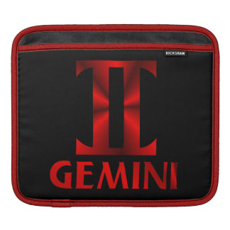 Red Gemini Horoscope Symbol Sleeves For iPads