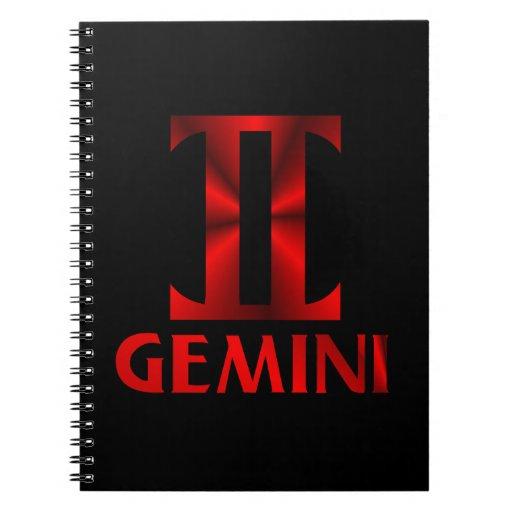 Red Gemini Horoscope Symbol Spiral Notebooks