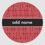 Red Geometric Building Block Pattern Classic Round Sticker