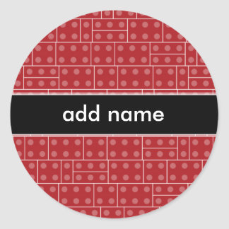 Red Geometric Building Block Pattern Round Stickers