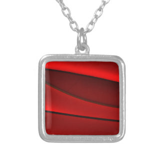 RED GEOMETRIC DESIGN ON SILVER PLATED NECKLACE