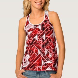 Red geometric figures pattern, triangles, squares tank top