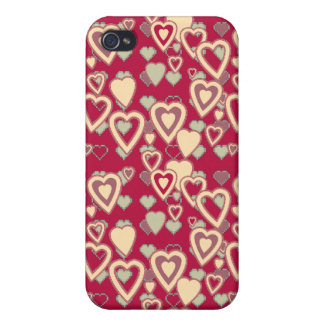 Red Geometric Heart Pattern Speck Case iPhone 4/4S Cases