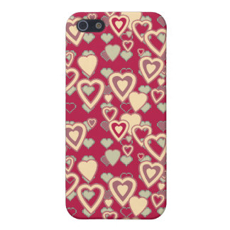 Red Geometric Heart Pattern Speck Case iPhone 5 Cases