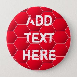 Red geometric hexagon pinback button