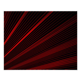 Red Geometric Lines Abstract On Black Poster Paper