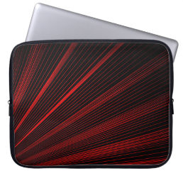 Red Geometric Lines On Black, Laptop Sleeve