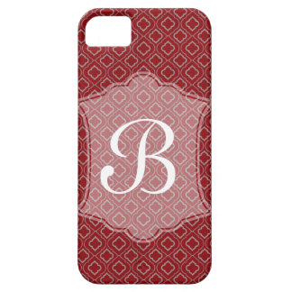 Red Geometric Moroccan Design with Monogram iPhone 5 Cover