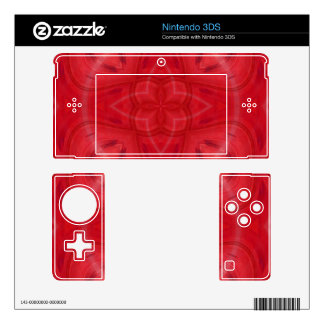 Red  geometric wood pattern nintendo 3DS decals