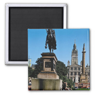 Red George Street and Queen Victoria statue, Glasg 2 Inch Square Magnet