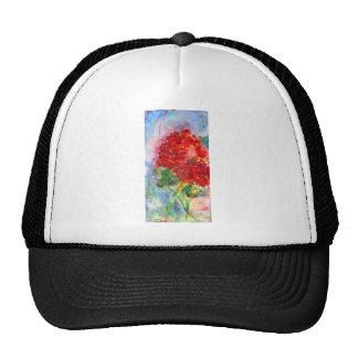 Red Geranium Acrylic Painting Trucker Hat