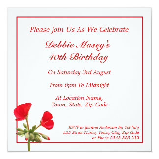 Red Geranium Birthday Invitation