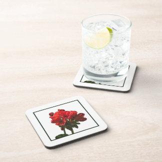 Red Geranium Cork Coasters