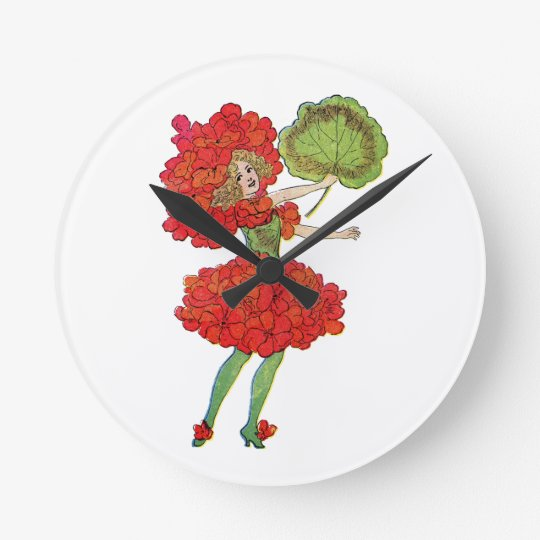 red geranium flower fairy clock