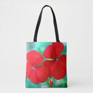 Red Geranium Flowers Tote Bag
