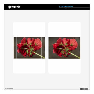 Red Geranium In Progress Skins For Kindle Fire