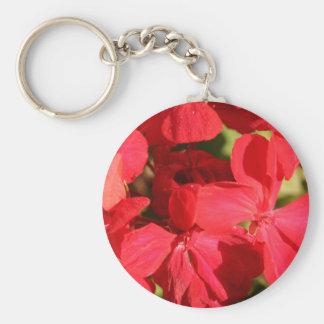 Red Geranium Photo Keychain