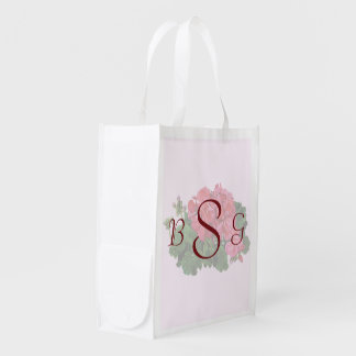 Red Geraniums and Buds Wedding Products Reusable Grocery Bag
